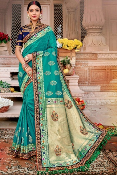 Turquoise Blue Silk Woven Saree with Embroidered Lace
