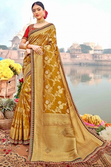 Mustard Silk Traditional Floral Woven Saree with Lace