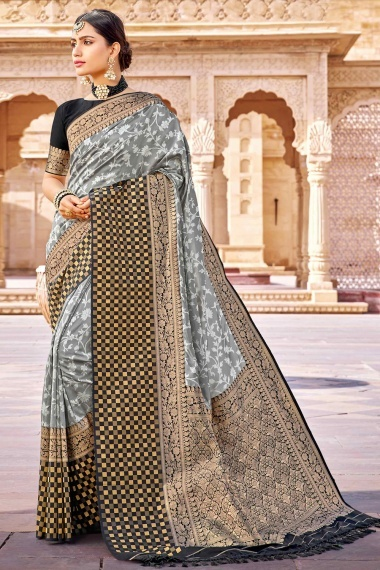 Grey Silk Traditional Woven Saree with Contrast Border and Pallu