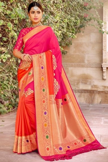 Pink and Red Silk Traditional Woven Saree with Golden Border and Pallu