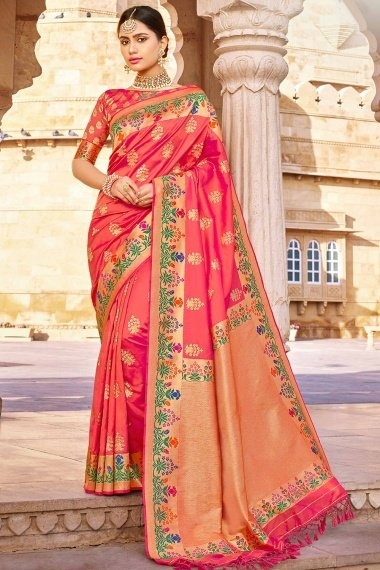 Coral Pink Silk Traditional Woven Saree