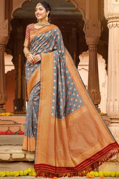 Grey Silk Woven saree with Contrast Border and Pallu