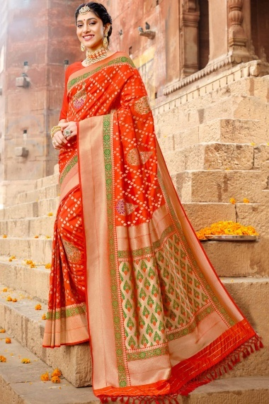 Red Silk Traditional All Over Woven Saree