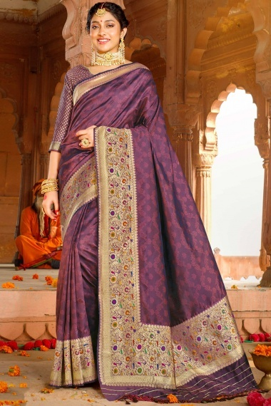 Purple Silk Traditional Saree with Floral Woven Border