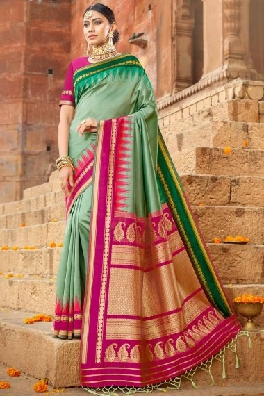 Green Silk Traditional Saree with Contrast Woven Pallu