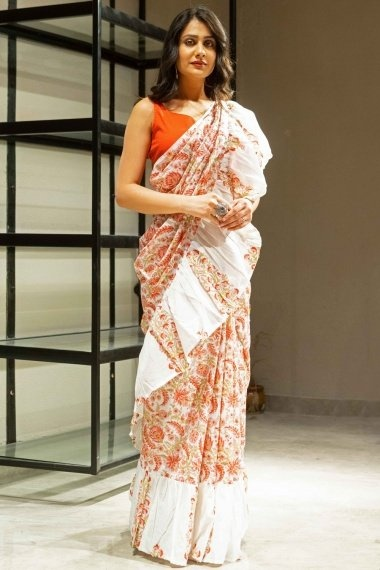 Off White and Red Cotton All Over Printed Ruffle Saree