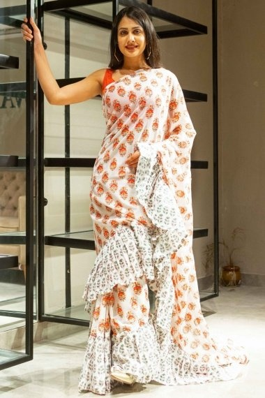 Off White Cotton Floral Printed Saree with Paisley Ruffle Border