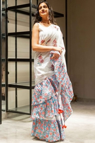 Off White Cotton Saree with Blue Floral Printed Ruffle Border