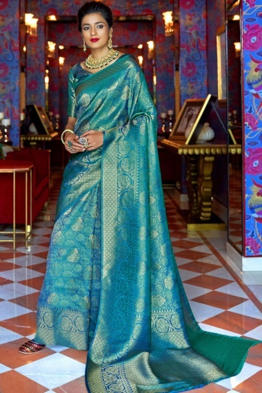 Sky Blue Silk Traditional Woven Saree with Golden Highlights