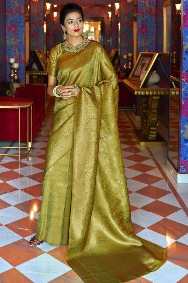 Olive Green and Golden Silk Traditional Woven Saree