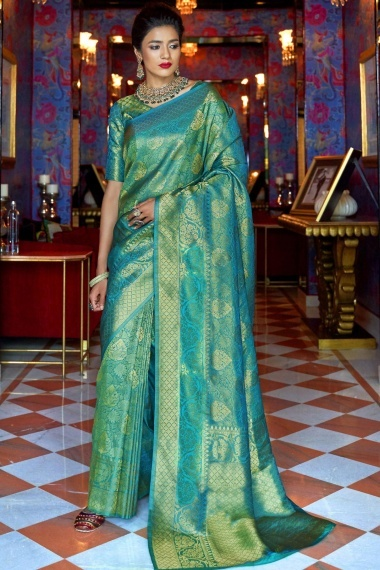 Turquoise Green Silk Traditional Woven Saree with Golden Highlights