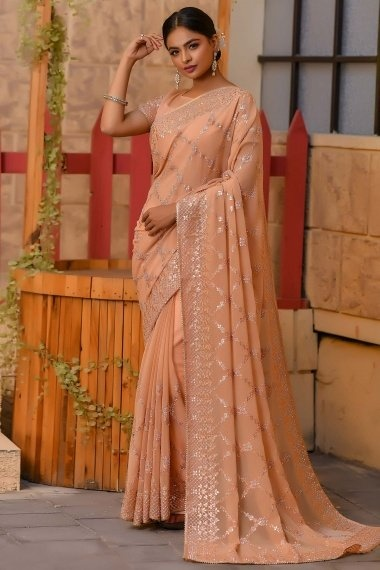 Peach Shimmer Designer Embroidered and Gota Patti Worked Saree with Stone