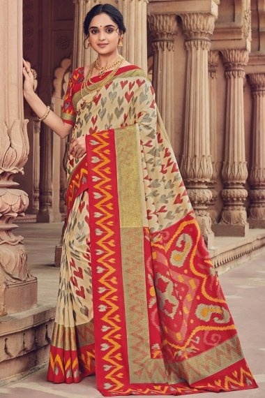 Beige Cotton Silk Woven Saree with Red Border and Pallu