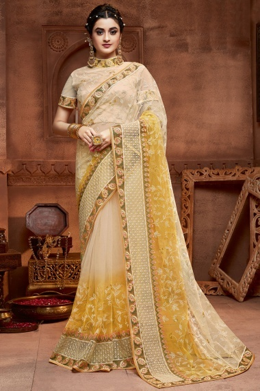 Cream and Yellow Net Embroidered Saree