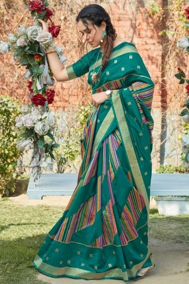 Teal Green and Multi Colored Art Silk Saree with Weaving