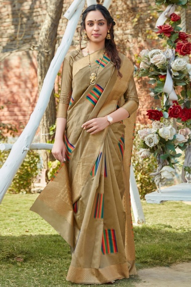 Beige and Multi Colored Art Silk Saree with Woven Border