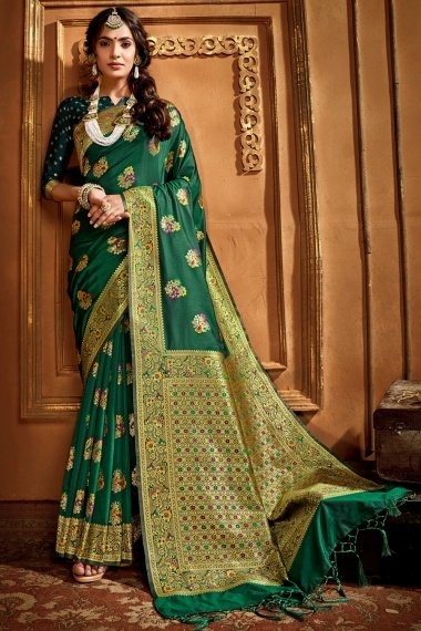 Green Silk Traditional Floral Woven Saree