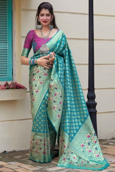 Turquoise Blue Silk Saree with Broad Floral Woven Border and Pallu
