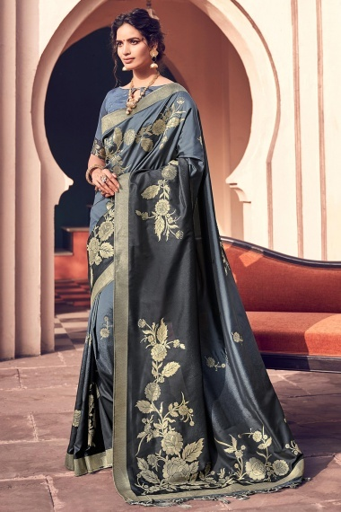 Grey and Black Banarasi Silk Traditional Floral Woven Saree with Double Blouse