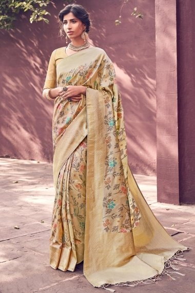 Beige Banarasi Silk Traditional Woven Saree with Double Blouse