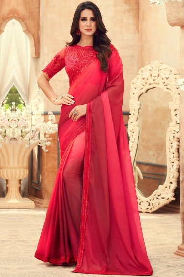 Red Ombre Chiffon Plain Saree with Embroidered Cut Worked Border