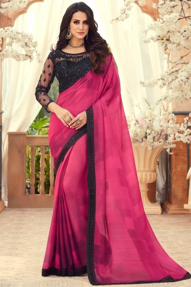 Pink Chiffon Plain Saree with Contrast Sequins Worked Lace