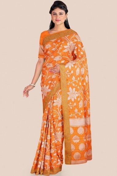 Orange Art Silk Traditional All Over Floral Woven Saree