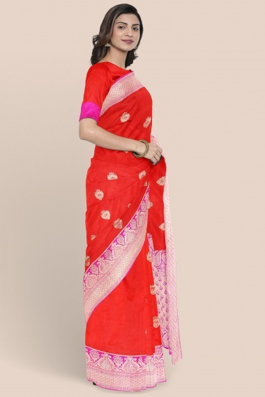 Red Pure Katan Silk Traditional Woven Saree with Golden Border and Pallu