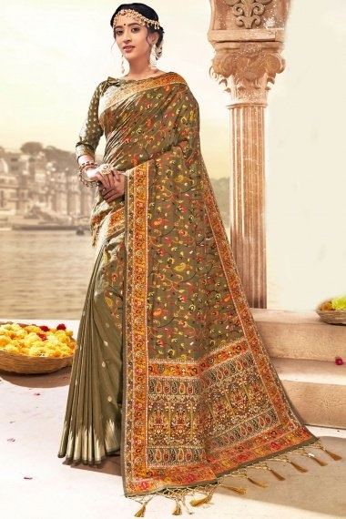 Dark Beige Silk Woven Saree with Paisley and Floral Motifs