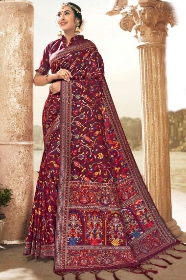 Maroon Silk All Over Woven Saree with Floral Motifs