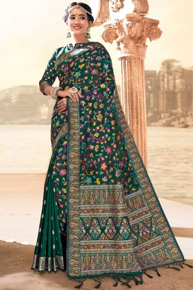 Forest Green Silk Woven Saree with Paisley Motifs Border