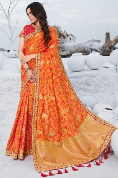 Orange Silk Traditional Woven Saree with Embroidered Lace