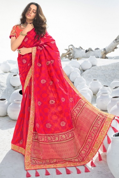 Rani Pink and Red Silk Traditional Woven Saree with Contrast Embroidered Lace