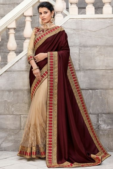 Dark Brown and Beige Silk Half and Half Saree with Embroidery