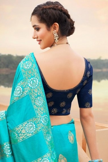 Turquoise Green Silk Traditional Woven Saree