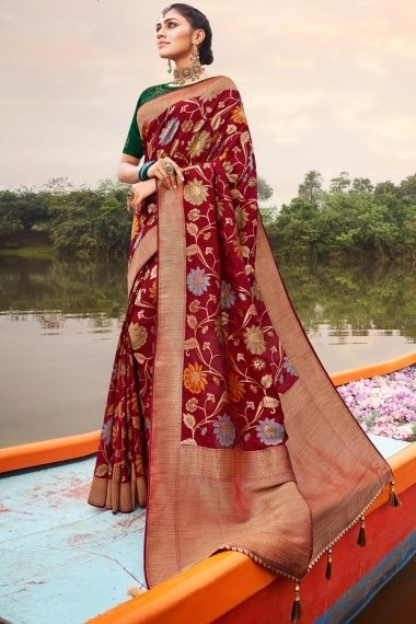Maroon Silk All Over Floral Woven Saree with Golden Border and Pallu