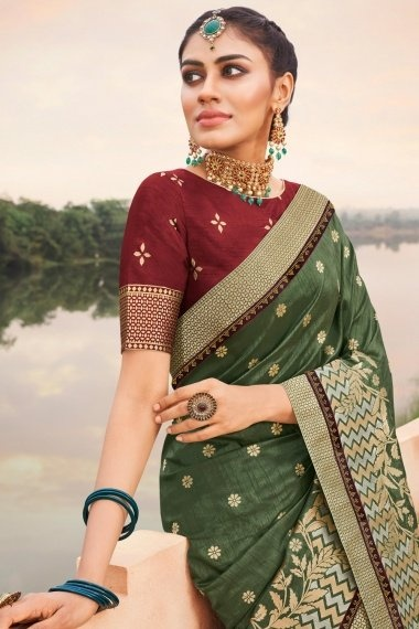 Dark Sage Green Silk Traditional Saree with Floral Woven Border