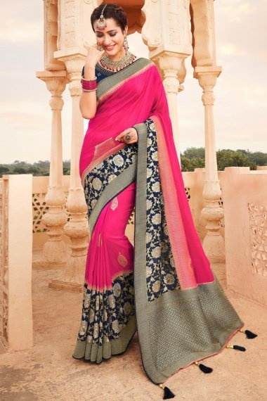 Rani Pink Silk Traditional Saree with Blue Woven Pallu and Floral Border