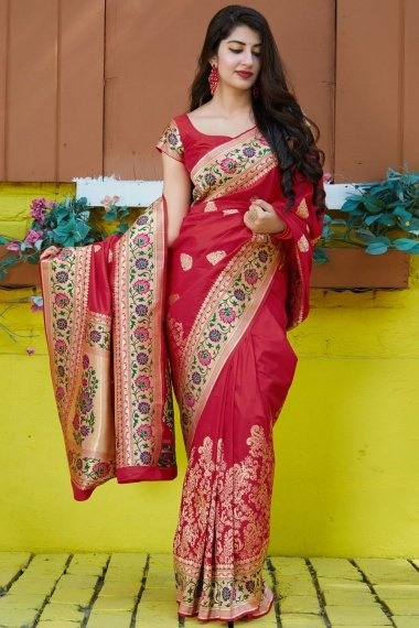 Red Silk Traditional Woven Saree with Zari Gold Pallu and Floral Border
