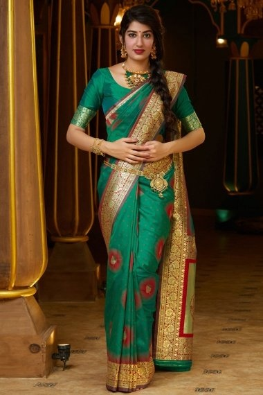 Teal Green Silk Traditional Woven Saree with Zari Gold Pallu and Floral Border