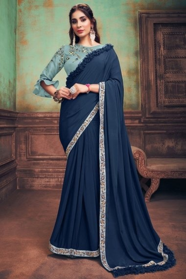 Prussian Blue Georgette Silk Plain Saree with One Side Frill Border and Designer Blouse