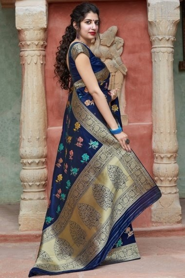 Navy Blue Art Silk Multi Colored Floral Woven Saree