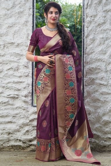 Purple Art Silk Saree with Floral Woven Border and Pallu