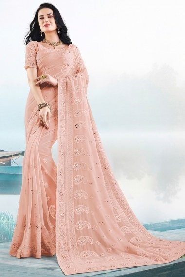 Pink Georgette Lucknowi Worked Saree with Paisley Motif