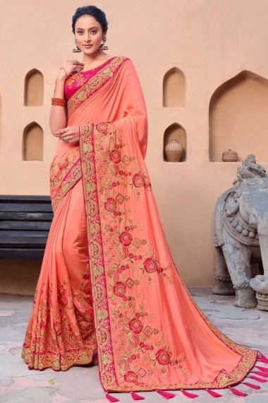 Peach Silk Designer Saree with Floral Embroidery