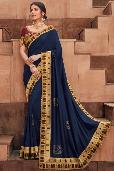 Navy Blue Silk Saree with Contrast Embroidered Border