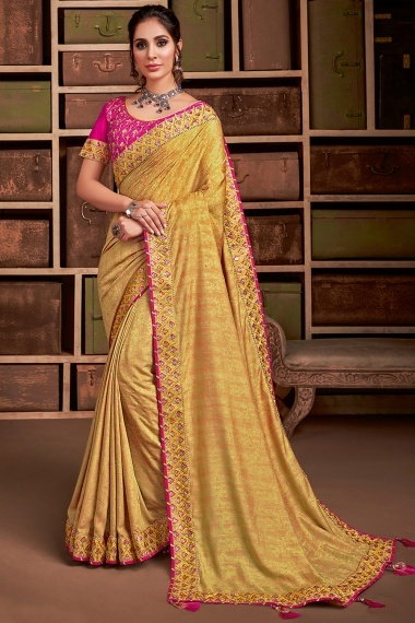 Yellow Jacquard Silk Saree with Sequins Worked Border