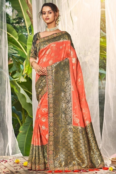 Peach Art Silk Traditional Woven Saree with Contrast Broad Border
