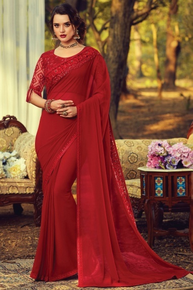 Red Georgette Plain Saree with Embroidered Border