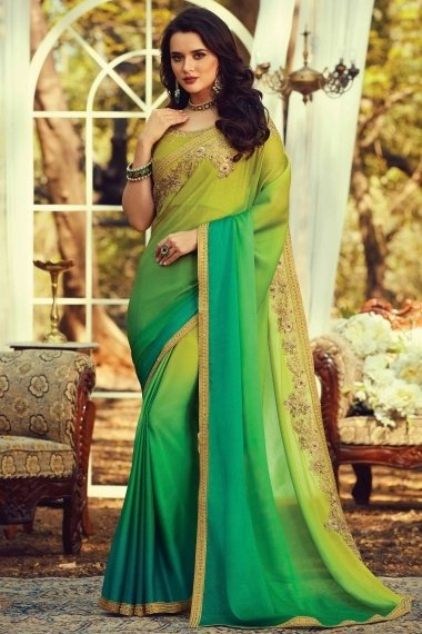 Green Shaded Silk Plain Saree with Embroidered Border